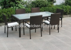 Outdoor rattan furniture dining table with diing chairs