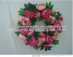 artificial peony flower wreath