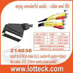 scart to 6 RCA male 2x( L audio+R audio+Video) flat cable