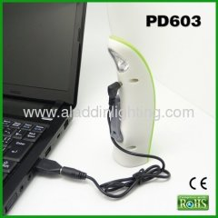 Dynamo LED reading lamp with USB port