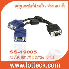 Sliver plate connector PVC jacket HD 15 vga splitter