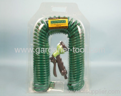 50FT Garden Coil Water Hose With Palastic Nozzle