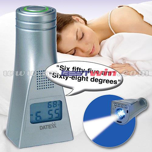 TALKING ALARM CLOCK AND FLASHLIGHT