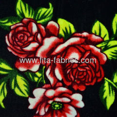 Peony design printed pleuche fabric or velvet crushed