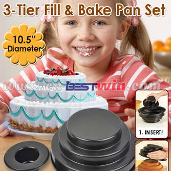 3-TIER FILL&BAKE PAN/NON-STICK TIER PAN SET