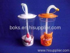plastic children water cup with straw