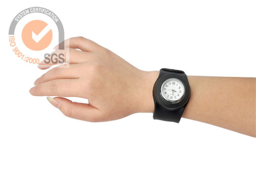 Promo Colorful Silicone & Rubber Slap Watch in black