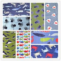 100%cotton Series of marine animals printed plain weave fabric