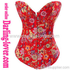 Red Flowers Sexy Corset