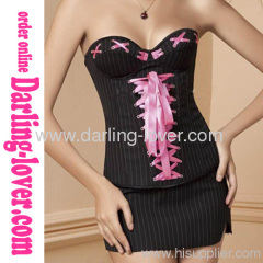 New Office Lady Lace-up Corset with Dress