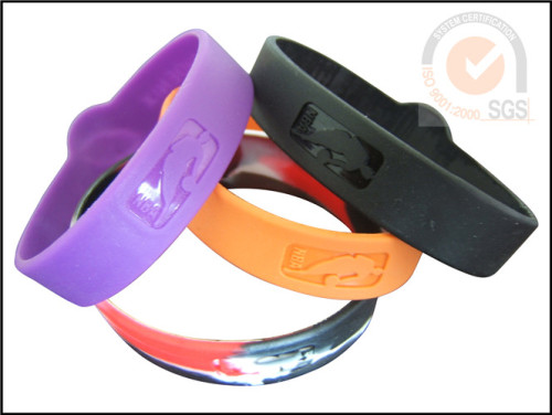 Sport Color Silicone & Rubber Wist Brand With Embossed Logo