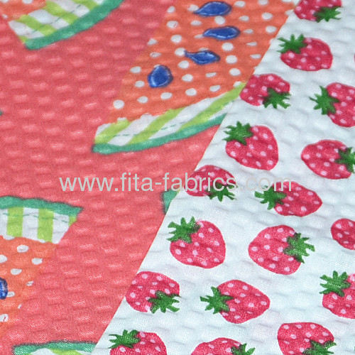 2013 New trendy fruit printed seersucker fabric