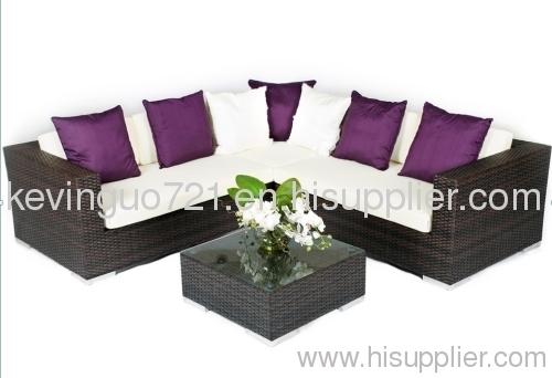 4 Piece Rattan Garden Furniture Patio Corner Sofa Set