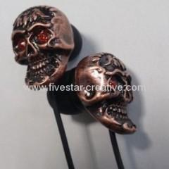 Crystal Gothic Metal Skull Earbuds Headphones