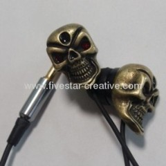 Fashion Metal Skull Crystals Stereo Earphones