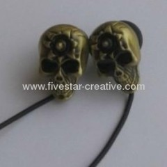 Nuovo Gothic Metal Gold Chrome cranio orecchio Bud Earbuds Earphone per iPhone