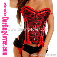New Sexy Red Lace Overbust Corset