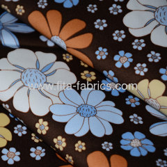 Flower printed cotton stretch satin drill fabric for lady's dress