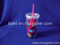 hard plastic cup with lid and straw