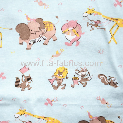 100%cotton lovely animals printed single jersey