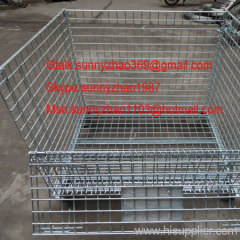 foldable zinc plated wire mesh container
