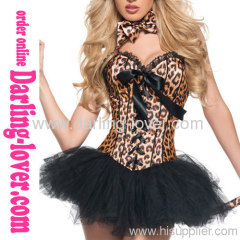 New Leopard Lace-up Corset with Dress
