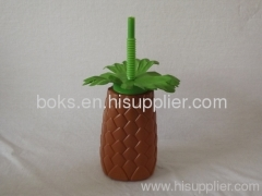 Plastic Straw Cups pineapple Plastic Cups with Straw
