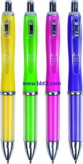 Promotional plastic ballpen with solid barrel and transparent clip