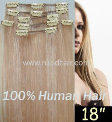 100% clip in hair extension INDIAN VIRGIN REMY hair exten