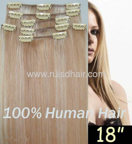 100% clip in hair extension INDIAN VIRGIN REMY hair exten