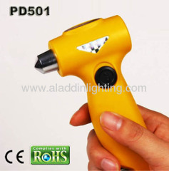 Dynamo Power Emergency Auto Safety Hammer with 3 LED flashlight