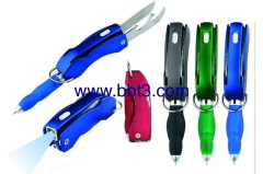 Promotion folding ballpoint pen with function tools and LED