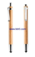 Hot selling promotional bamboo eco ballpen with stylus point