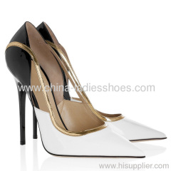 Fashion white and black stiletto heel dress shoes
