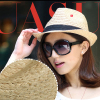 Raffia fedora hats sun protection unisex