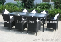 Outdoor wicker dining frame table with chairs