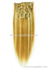 Silky straight Brazilian hair clips in hair extension