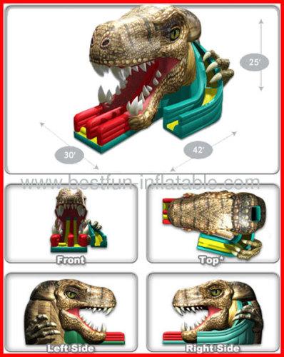 Dual Lane Raptor Jungle Inflatable Dino Slide