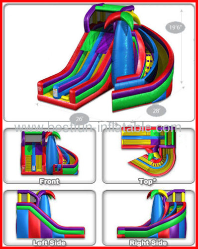 Wacky Dual Inflatable Spiral Slide