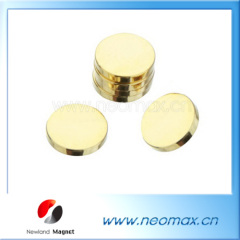 Gold coating NdFeB magnet