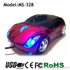 LED shining wired car shap mouse for gift mouse