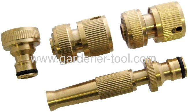 4brass hose nozzle set include brass nozzle,brass quick connector and brass tap