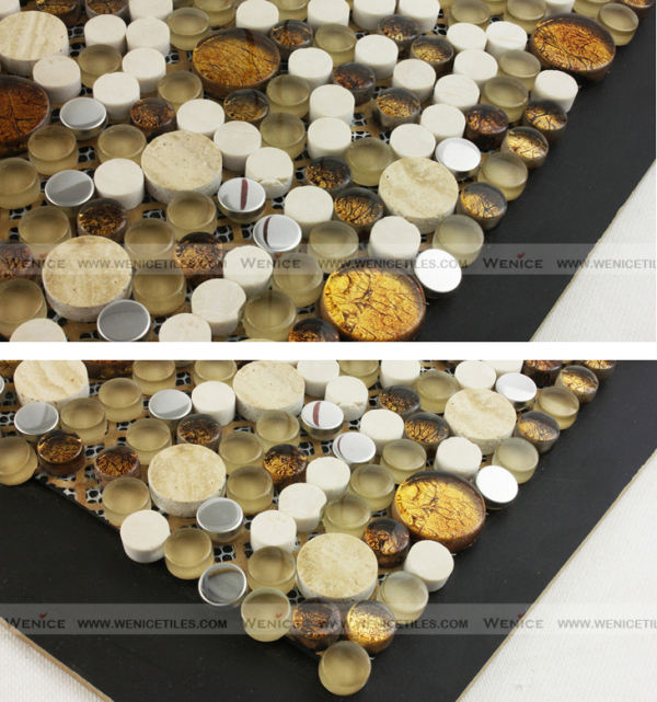 Marble, glass and metallic mixed mosaico fiber backed