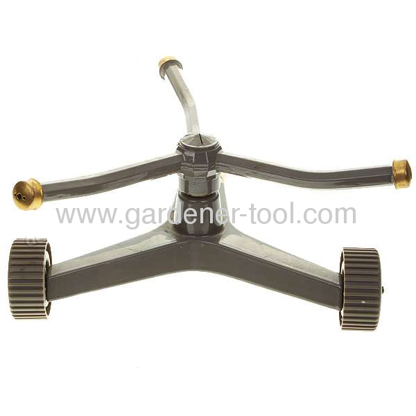 3 arm zinc alloy rotary sprinkler and zinc alloy base with wheel