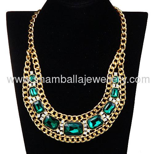 wholesale exaggerated design costume big crystal bib collar Necklace