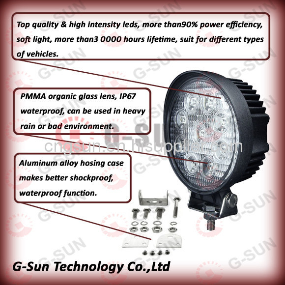 100% high quality waterproof and shockproof27w high power LED working light