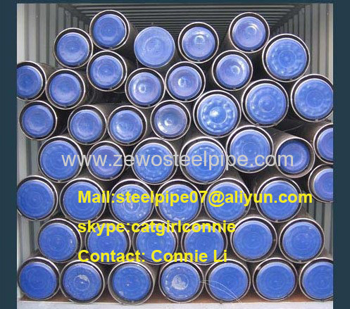 ASTM A106B Seamless Steel Pipe with black paint and plastic cap