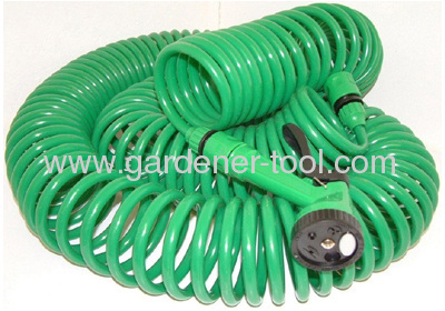 30M Garden Water Coil Hose With 4-Function Garden Spray Gun Nozzle