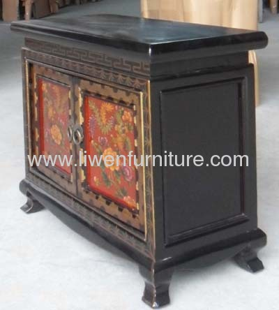 Tibetan painted bedside cabinet