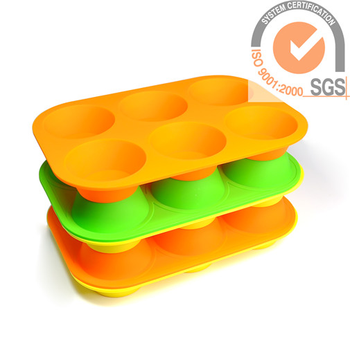 Fashion 4cupsSilicone cake mold tray in Green Color
